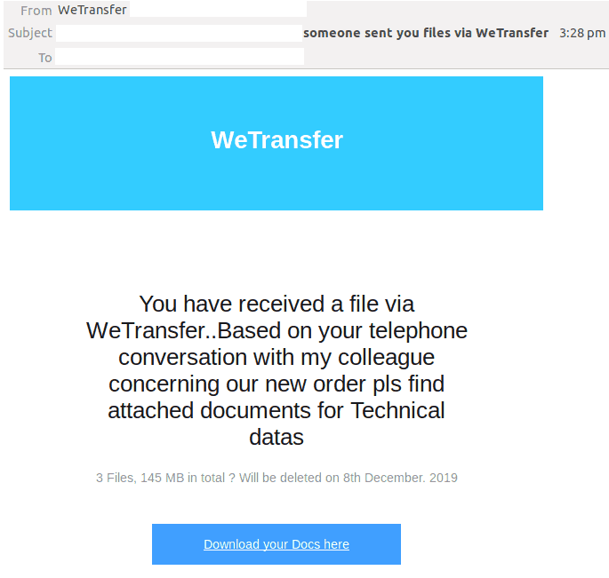WeTransfer Email Scam