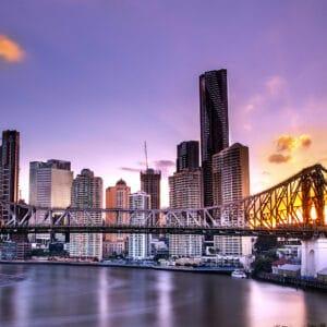 Photo of the Brisbane Story Bridge at sunset