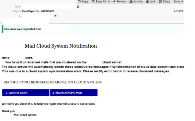 Mail Cloud Scam