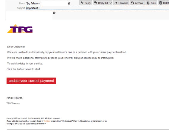 TPG Scam email