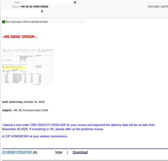 Purchase order scam