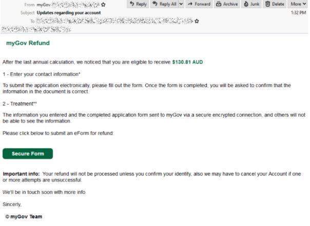 myGov scam email