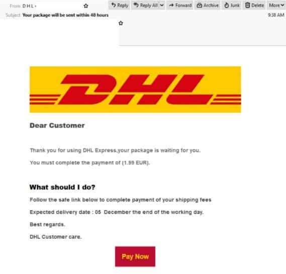 DHL Phishing email