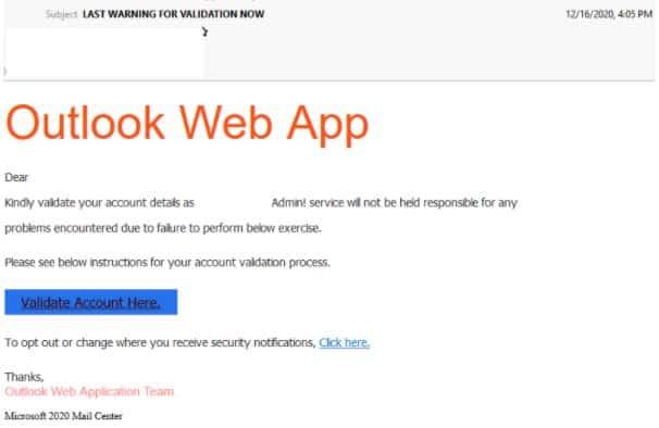 Outlook Web App Scam