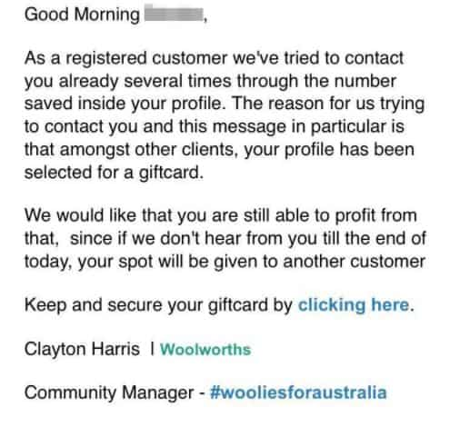 Woolies gift card